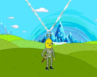 Adventure Time silver necklace with Lemongrab charm  Free UK Postage!