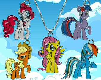 My Little Pony sterling silver / faux leather necklace with your choice of charm. Free UK postage