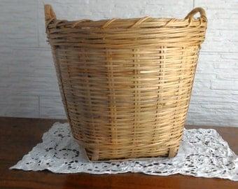 Wicker basket-woven wicker basket-vintage-rustic-country-furniture