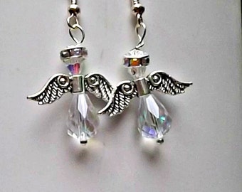 Holiday Earrings, Gift for Her, Angel Earrings, Faith Earrings, Swarovski Crystals, Angel Jewelry, Christmas Earrings, Guardian Angels