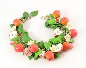 Apple cha cha charm Bracelet - Polymer clay jewelry - Handmade Polymer clay bracelet - Gift Fruit bracelet