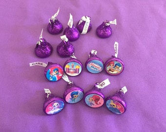 Shimmer and Shine Hershey's kisses labels, envelope seals, party favors