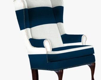 FRANCOISE Chair ... hand made broad striped nailhead wing chair in your choice of color