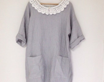 Fine pale blue, pale grey linen tunic dress, 3/4 length sleeves, handmade, uk