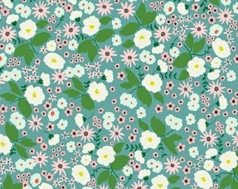 SALE! Cotton Fabric by the Yard - Modern Floral Fabric - Maribel - Fat Quarter Bundle - Floral Fabric - Turquoise Packed Floral