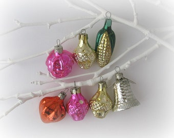 7 Soviet Christmas tree decorations, Set of 7, Glass Christmas tree ornaments, Bell, Berry, Sale, New Year, USSR, Soviet Union, 1950s-1970s
