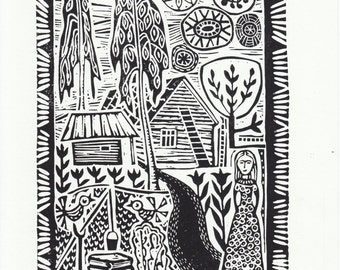 "Original Linoleum Printmaking ""In the Homeland"" by Lithuanian folk artist Odeta Brazeniene"