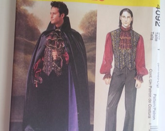 Vampire Costume / mens cosplay / Victorian costume / 2003 sewing pattern, Chest 34 36 38 40 42 44, Size Small Medium Large, McCalls 4092