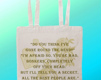 Alice in wonderland Mad Hatter Bonkers - Reuseable Shopping Canvas Tote Bag