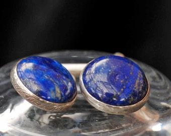925 Silver Vintage Blue Gold Flecked Lapis Lazuli Cufflinks