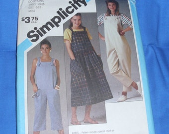 Simplicity 6459 Vintage Loose-Fitting Pull-On Overalls and Pullover Jumper Two Sizes 6 & 8 Uncut Factory Fold Pattern Circa 1984