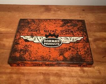 Vintage industrial orange dorman parts lidded drawer