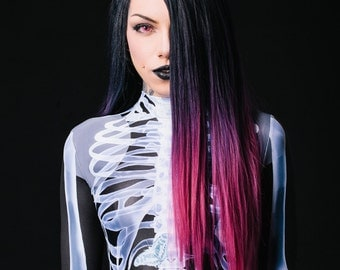 Sexy Bodysuit, Black Catsuit, Black Jumpsuit, Festival Clothing, Fetish Clothing, Cosplay Costume, Sexy Costume, Skeleton Bodysuit, BADINKA