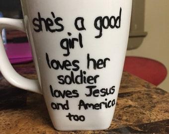Army Girlfriend/Wife Hand-painted Porcelian Mug
