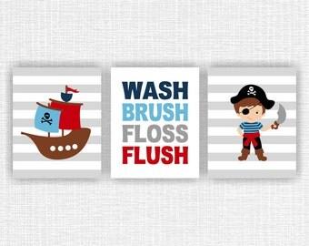 Pirate Bathroom Decor Art instant download, Pirate ship, Wash Brush Floss Flush, Bathroom Pirate Nursery Quote Prints, Set of 3, 8x10