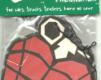 GREEN DAY grenade logo VINTAGE twin pack of air fresheners 10 centimetres / 4 inches - very rare - new/sealed - cherry scented