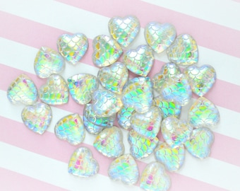 12mm Iridescent Mermaid Scale Heart Flatback Resin Decoden Cabochon - 10 piece set