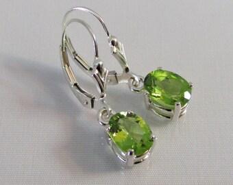 Peridot Leverback Earrings in Sterling Silver, Peridot 8x6mm Oval Gemstone, August Birthstone Earrings, Peridot Jewelry, Mother's Day Gift