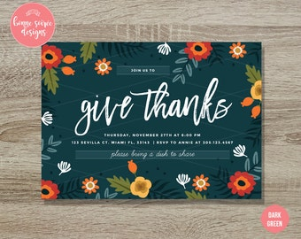 Thanksgiving Invitation // 5x7 Floral Thanksgiving Printable Invite - Thanksgiving Dinner Party Give Thanks Fall Harvest Invitation Autumn