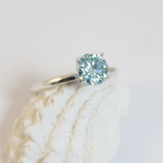 Sale Moissanite Ring Blue Moissanite Ring Solitaire Ring