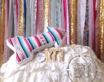 Boho Backdrop Hippie Curtains Boho Curtain Junk Gypsy Decor Rustic Rag Fabric Ribbon Garland Teen Room-Dorm-Glamping-Bed-Headboard Nursery