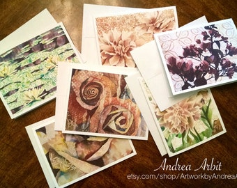 Flowers & Patterns - Pack of Six Blank A2 Notecards - Watercolor Art Prints