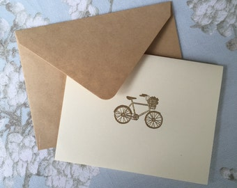 6 Gold and Ivory Bicycle Notecards- You Choose Envelope Color