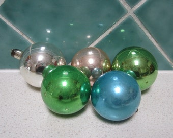 Vintage Christmas Decorations - Balls - Glass - 1950's