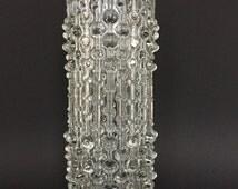 Tall Sklo Union , height 28 cm , Czech  Hermanova Hut glassworks.  Op Art Mid Century Modern Glass vase,  Design : Frantisek Peceny 1974.