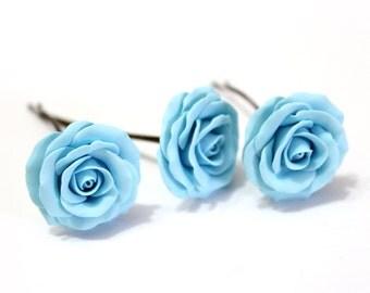 Light Blue, Bridal Hair Accessory, Bridal Pink Hair Flower, wedding hair - Set of