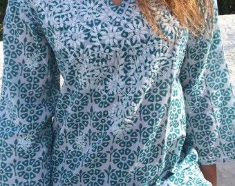 Stylish turqouise and white maxi lenght cotton tunic from Ibiza