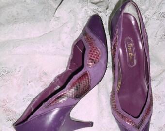 Genuine snakeskin suede trim purple shoes, snakeskin purple women's shoes