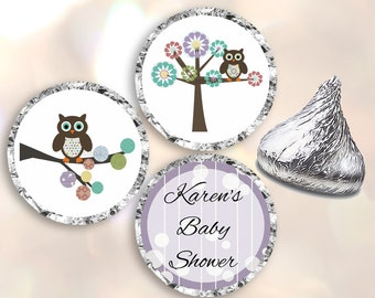 Baby Shower Hershey Kiss Stickers, Pink, Personalized Baby Shower Stickers, Shower Favors, Baby Shower Thank You Gifts