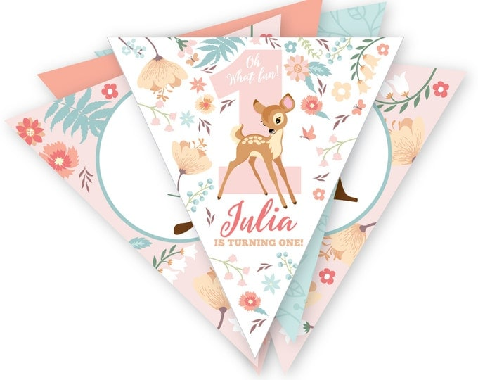 Baby Deer Woodland Bunting, Printable, Customized, DIY invitation, Girl's Woodland Party, Woodland Animals party