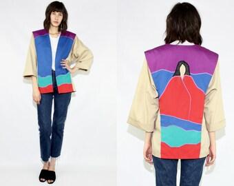 Southwest Minimalist Medium Beige Color Block Jacket, Tan South West Woman Tan Red Colorblock 3/4 Sleeve Open Jacket, Tan Minimalist Jacket
