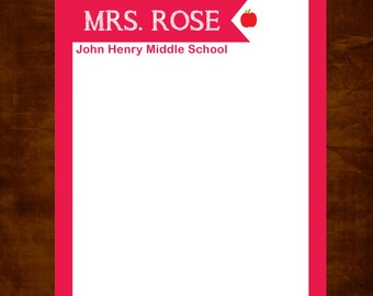 Teacher Notepad, Personalized Teacher Gift, Custom Stationery, Teacher Appreciation Gift, Classroom Present, Red Apple Pad, Stationery