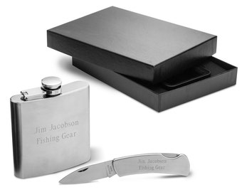 Stainless Steel Flask & Lock Back Knife Gift Set - Flask - Knife - Gift Set - Personalized Gift