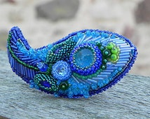 Blue Paisley Brooch Beadwork Embroidered Peacock Brooch Glass Beads Cabochon Modern Broosh Gifts for Women Unusual Brooshes Latvian Jewelry