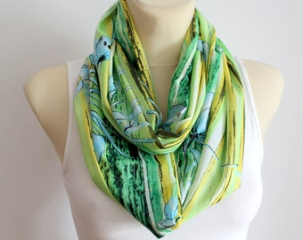 Green Fashion Scarf Infinity Scarf Geometric Loop Scarf Circle Fabric Scarf Women Shawl Printed Floral Scarf Summer Outdoors, Summer Party
