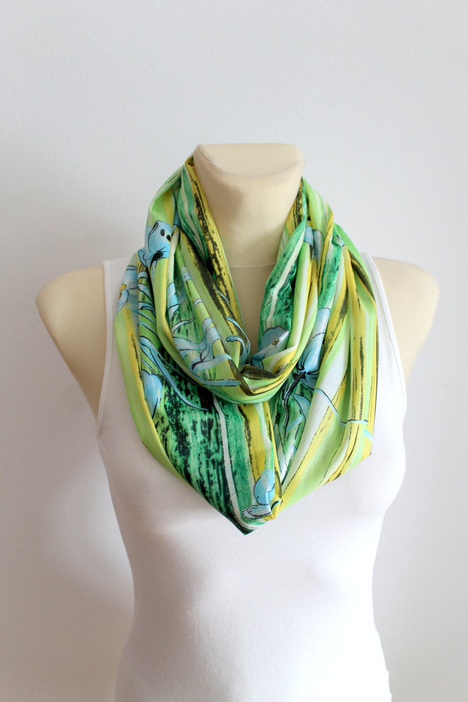 green fashion scarf infinity scarf geometric loop scarf circle