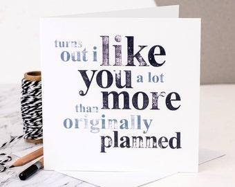 Tarjeta de amor divertido; Tarjeta de San Valentín divertida; Tarjeta divertida del aniversario; Te amo tarjeta; Tarjeta para novio; Tarjeta divertida; GC020