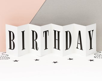 Birthday Card; Black and White Concertina Banner Card; Keepsake Birthday Card; Large Birthday Card; CC005