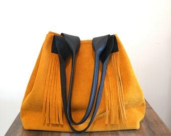 SALE - Suede shoulder bag, large tote bag, purse, suede handbag,