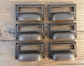 A set of 6 antique style industrial iron label holder drawer pull CH1