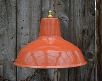 Retro factory styled dusky orange ceiling light hanging pendant lampshade ofsg3