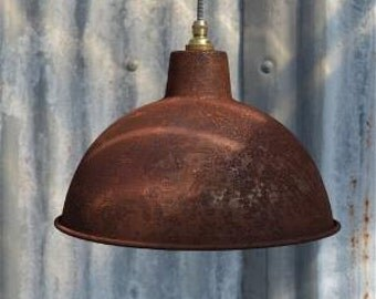 Rusty steel vintage style barn light workshop ceiling lamp pendant shade RS2G3