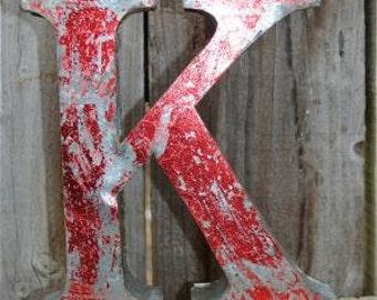 Medium vintage style 3D red letter K