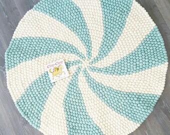 120cm round felt ball rug, Candy Pop rug, pompom rug, felt ball rug, swirl rug, blue & white rug, Nursery Decor, baby room