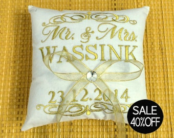 Ring Bearer 40% OFF Pillow Mr & Mrs.Wedding Ring Metallic Gold Pillow Embroidered Monogram Custom Personalize Ring Bearer Pillow All Colors