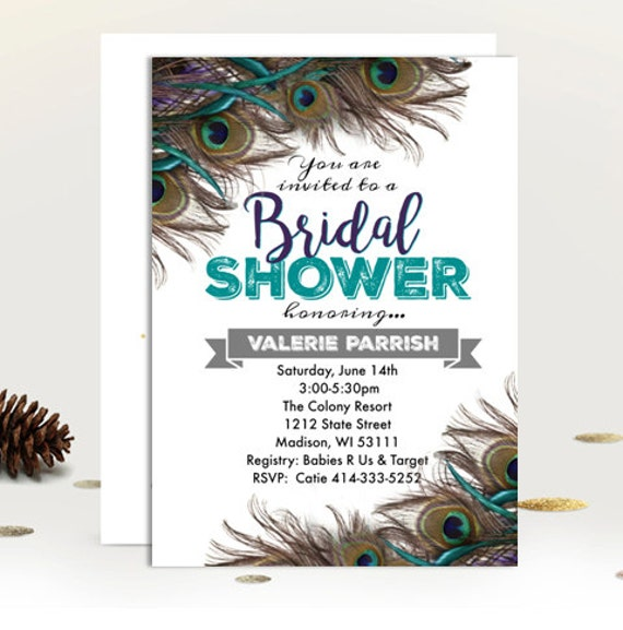 Peacock Bridal Shower Invitation feather peacock themed